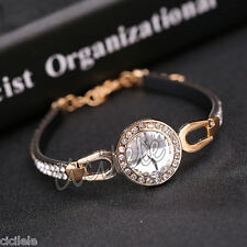 Fashion Women Bangle Leather Crystal Rhinestone Cuff Elegant Bracelet Jewelry