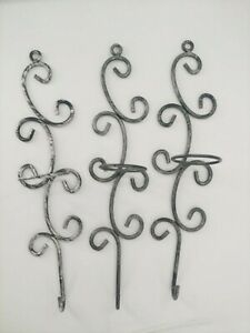 Set of 3 Gray Metal Scroll Swirl Candle Holders Wall Sconces 16""