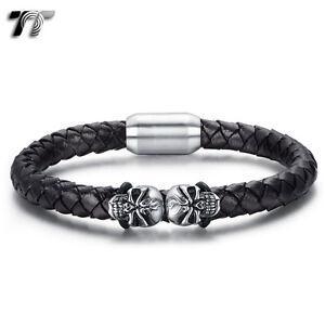TT Black Leather Skull 316L S.Steel Magnet Buckle Bracelet (BR226) NEW