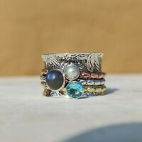 Labradorite 925 Sterling Silver Spinner Ring Meditation Statement Jewelry A297