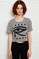 Urban Outfitters Grey Egyptian Eye Cropped Tee Tshirt BNWT  XS S M £25 Festival