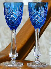 (2) Faberge Odessa Liqueur/Cordial Glasses, Lt Blue/Azzurro Cased Crystal Signed