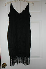 DESIGNER BLACK LACE EYELET TASSELS DRESS GOWN FORMAL SIZE 8 PROM SEXY