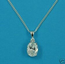 STUNNING STERLING SILVER CLR OVAL/RND CZ PENDANT &CHAIN