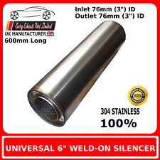"""6"""" x 24"""" Weld On Stainless Steel Silencer Exhaust Box Body, 3"""""""" (76mm) Bore"""