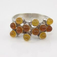 Sterling Silver Faux Orange Amber Cluster Ring Size 8