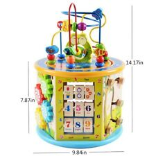 Educational Learning Wooden Activity Multipurpose Bead Cube Maze Toys Kids Gift