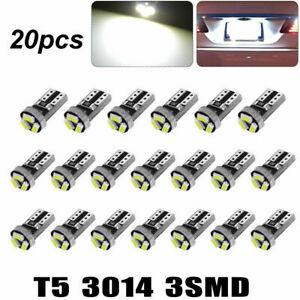 20x Super White T5 3SMD LED Bulb Instrument Panel Dash Gauge Interior Light Bulb