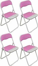 4 X Harbour Housewares Pink / White Padded Folding Desk Guest Chairs