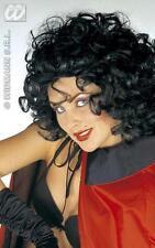 Ladies Black Curly Perm Wig Flintstones Betty Vampiress Halloween Fancy Dress