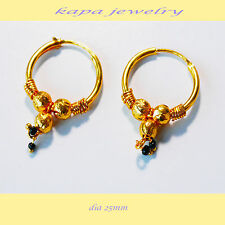 Earrings Indian Hoop Ethnic Style gift Ha1 Kapa Real looking 22 ct gold plated