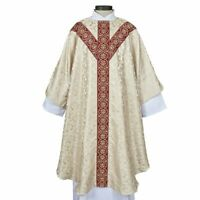 MONREALE COLLECTION SEMI-GOTHIC CHASUBLE + WHITE (IVORY) VESTMENT