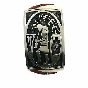 Native American Navajo Tim Yazzie Sterling Silver Overlay Coral Bracelet Cuff