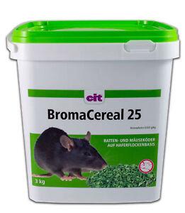 CIT Rattengift BromaCereal < 0029% Bromadiolon 3 kg Mäusegift Haferflockenbasis