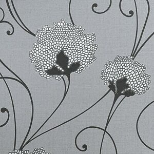 Grey Charcoal Silver Floral Glitter Flower Trail Thick Textured Vinyl Wallpaper
