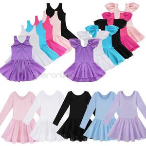 Girls Gymnastics Dress Toddler Kid Leotard Ballet Tutu Skirt Dance Wear Clothing
