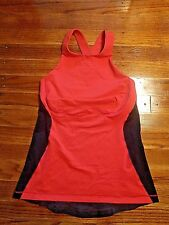 Lululemon Tank Top Spin It To Win It Womens Love Red Deep Coal Size 6 Small