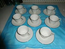 SET of 8 WEDGWOOD SILVER ERMINE CUPS & SAUCERS CHINA DEMITASSE TEA CUPS ENGLAND