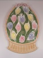 Tulip basket shaped deviled  egg plate in pastel colors