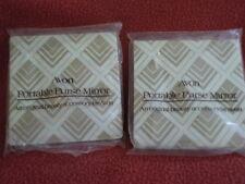 "LOT OF 2 Avon Portable Purse Mirrors Square 4"" x 4"""