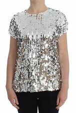 NWT DOLCE & GABBANA Silver Sequined Crewneck Blouse T-shirt Top IT44/US10/L