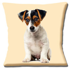 Jack Russell Puppy Dog Cushion Cover 16 inch 40cm Tan Black White Smooth Photo