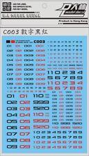 US Seller D.L Black & Red NUMBER Waterslide Decal PG MG RG HG Gundam C003