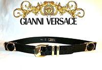Gianni VERSACE ~ Black patent leather belt ~ RARE Black MEDUSA ~ AUTHENTIC