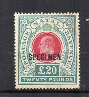 South Africa - Natal 1902 £20 SPECIMEM opt MH