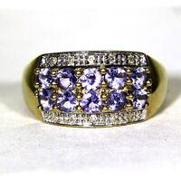 Attractive Tanzanite & Diamond 9ct Yellow gold Wide Band ring size P ~ US 7 3/4