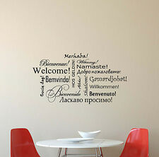 Welcome Wall Decal Different Languages Vinyl Sticker Decor Hallway Poster 313
