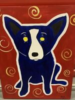 """After Louisiana artist George Rodrigue, Blue Dog"""", Oil on canvas, 20""""x 16"""""""