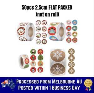 50pcs Merry Christmas Sticker Thank You Business Sticker Round Seal 8 Style 🔥