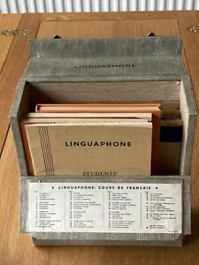 """1950's Vintage Linguaphone French Language course with all  16 7"""" vinyl records"""