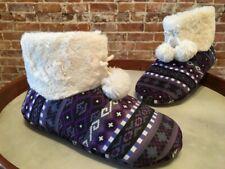 Cuddl Duds Purple Fair Isle Faux Fur Lined Pom Pom Ankle Boot Slipper M 7-8 New