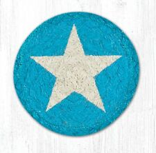 White Star On Turquoise 100% Natural Braided Jute Coaster, Set of 4