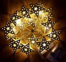 Noël Métal Blanc Fil étoile Lampe Conte De Fée 16 x blanc chaud del Pile 2.45m