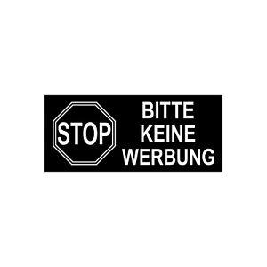 10 Aufkleber 6,5cm x 3cm STOP BITTE KEINE WERBUNG einwerfen Briefkasten Hinweis