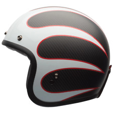 NEW BELL CUSTOM 500 CARBON ACE CAFE TONUP BLACK/WHITE HELMET WAS $549.99