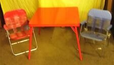 Child's Card Table With Two Chairs, Red Vinyl Top