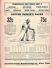 Cotton Picker's Sacks Price List Tents Crawford Austin Mfg Co Waco Texas 1931