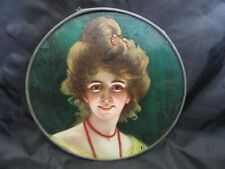 "Antique Flue Cover of Eccentric Looking Woman w/ Horseshoe Pin (8.5"")"