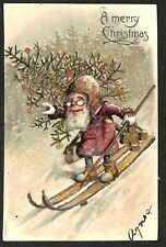 A Merry Christmas Red Robed Goggled Skiing Santa Claus Postcard