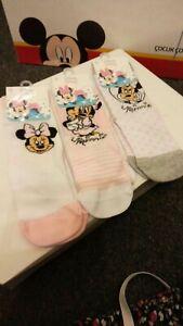 3 pairs Disney baby Minnie Mouse girls socks.