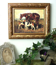 Emms Fox Hunt Hound Dog Horse Print Antique Vintage Styl Framed 11x13 Pony