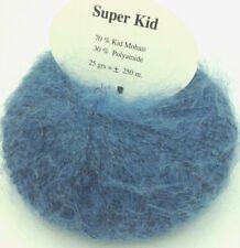 10 pelotes 70 %   kid  mohair couleur bleu jean   - fabriqué en France