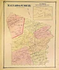 ANTIQUE MAP  OF MAYNARD & SUDBURY & WAYLAND 1875 MIDDLESEX COUNTY, MASSACHUSETTS