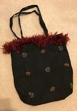 Black Floral Print Purse Small Handbag Double handle Red a