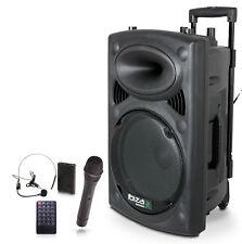 IBIZA PORT-12UHF Mobile Akku Box Sound Anlage Bluetooth USB MP3 SD Funkmikrofon