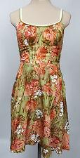 DeWeese Designs vintage beach dress green peach hibiscus print built in bra 34